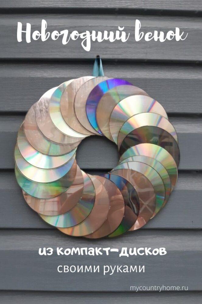 новогодний венок из компакт-дисков своими руками